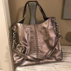 Uptown Astor Silver Convertible Chain Leather Tote